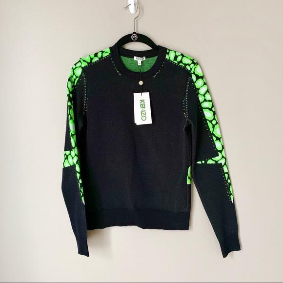5806447e Kenzo Sweaters | Nwt Lime Green Leopardintarsia Sweater | Poshmark